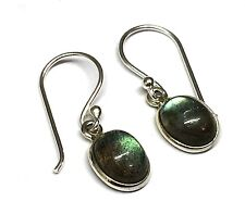 Handmade in 925 Sterling Silver, Real Labradorite Oval Drop Earrings With Box