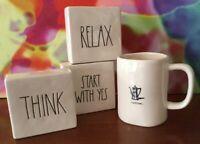"Rae Dunn ~ Magenta // Set Of Three Word Cubes & Coffee Mug // 4"" x 4"" x 1 1/2"""