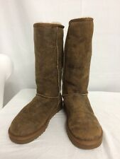 *MISMATCH* UGG AUSTRALIA CLASSIC TALL BOMBER FUR BOOTS BROWN L 9 R 8 NEW! $180