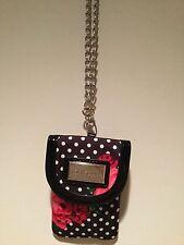 Adorable Betsey Johnson Small Polka Dot Rose Clutch Handbag With Silver Chain