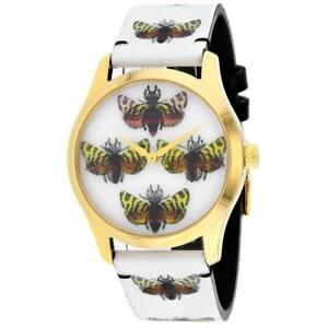 New GUCCI G-Timeless YA1264109 White Holo Butterfly Women's Watch