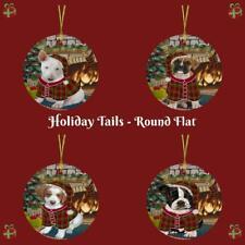 Christmas Stocking Hung Dog Cat Round Flat Christmas Ornament Gift