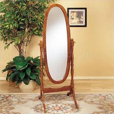 Oak Wood Cheval Oval Standing Floor Mirror Tilting Full Body Length Bathroom