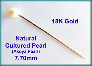 18k Rose GOLD & Cultured Akoya Pearl 7.75mm - Hat Stick, Pin, Tie Pin, Lapel Pin