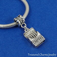 Silver BOX OF CRAYONS Dangle Bead CHARM School Teacher fits EUROPEAN Bracelet