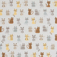 Funky Cats on Pale Grey Linen Look Fabric **Curtain/Upholstery/Cushion/Blinds**