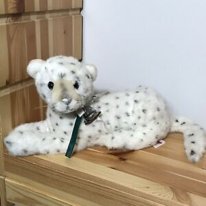 """Vintage Dakin Snow Leopard 14"""" Plush With Ribbon and Bell 1991"""