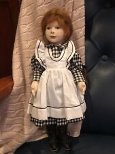 """Maggie Iacono 16"""" beautiful felt doll gingham dress signed by artist rare 1 of 1"""