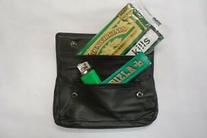 Leather Tobacco Pouch with Rubber Lining and Zip Pocket for Lighter and Papers