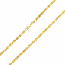 Genuine 14K Yellow Gold 4mm Rope Italian Chain Pendant Necklace Men Womens 20""