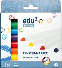 edu³ 8 Fenster-Marker 1-7 mm Fenstermalstifte Window Color Stifte Glasmalstifte
