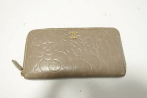 Authentic CHANEL Camellia Leather Gray Zip Around Long Wallet  #9339