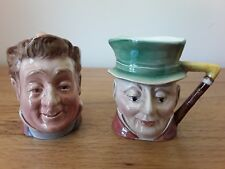 """2 BESWICK DICKENS CHARACTER/TOBY JUGS 'PECKSNIFF' 1117 & 'MR MICAWBER' 674. 3.5"""""""