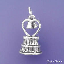 .925 Sterling Silver 3D WEDDING CAKE With Heart And Bells Charm Pendant - lp4015