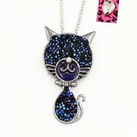 Betsey Johnson Enamel Crystal Cute Kitten Cat Pendant Chain Necklace/Brooch Pin