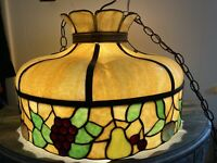 Antique Vintage Stained Glass Hanging Ceiling Lamp