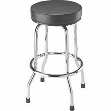 Black Swivel Seat Bar Stool Vinyl Cushion Chrome Legs Garage Shop Work Chair New