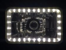 "White Halo H4 Headlight Angel Eye 4"" x 6"" Semi Sealed Beam Universal Crystal Len"