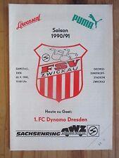 Pr127 PROGRAMM NOFV Oberliga FSV ZWICKAU - DYNAMO DRESDEN 22.09.1990 DDR DFV DFB
