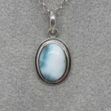 925 Sterling Silver BLUE LARIMAR Pendant Oval-inner wisdom -earth-healing