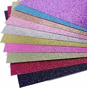 A4 Glitter Card Coloured Premium Quality Non Shed Glitter 250gsm Crafts Mixed