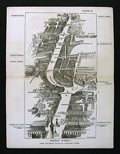 1886 Victoria London Bird's Eye View Map Regent Street Waterloo Place Oxford Cir