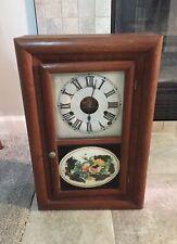 Antique Seth Thomas Cottage Case Clock 30 Hr Floral Reverse Painted W/Key