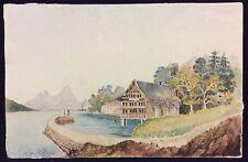 Chalet  lac  montagne Hautes-Alpes ou Suisse 1898