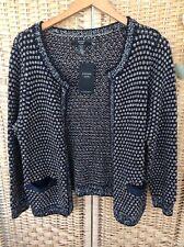 JOANNA HOPE Black Gold Cream Metallic Open Cardigan Jacket Pockets BNWT 12 14