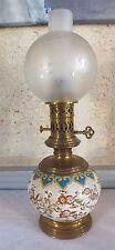 lampe pétrole modérateur faience émaux Longwy ou Gien oil lamp 19eme