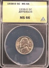 1938-D JEFFERSON NICKEL MS66 ANACS (X355)