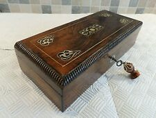 VICTORIAN 19thC INLAID ROSEWOOD GLOVE BOX WITH RELINED INTERIOR - LOCK & KEY
