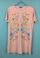 Zara Pink Floral Embroidered Short Sleeve Shift Mini Dress L - B51