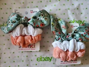 Scunci Everyday Scrunchies 2 Packs Green Floral Tie Orange & White New