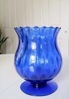 "VTG handcrafted glass candy dish/Vase COBALT BLUE MURANO Art Glass 6""x 4"""