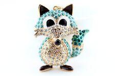 Blue Fox Fashion Keychain Rhinestone Crystal Charm Cute Animal Gift E27