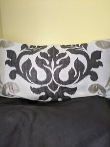 "Black Ikat designer oblong cushion cover measuring 26""x15"""