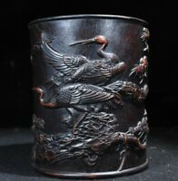 Collect natural Rosewood carving Pine and crane Chinese Brush Pot Pencil Vase