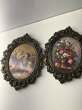 Vintage Small Oval Renaissance Pictures, Ornate Brass Frames, Made in Italy