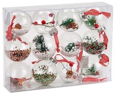 "Set of 12 Plastic Christmas Baubles Clear Ball Ornaments 3.2"" X-Mas Decoration"