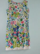 Vintage Sheath Dress Women Med Floral Pink Turquoise Green Sleeveless Regal 60s