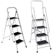 More details for 4 step ladder safety anti slip rubber mat tread handrail steel folding frame diy