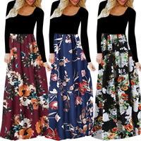 Fashion Womens Boho Autumn Winter Loose Casual Party Long Sleeve Long Maxi Dress