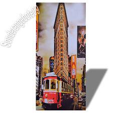 New York Hochhaus Bahn Wandbild Bild Kunstdruck Druck auf MDF Holz 25 x 51 cm