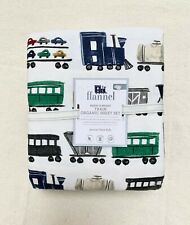 Pottery Barn Kids Merry Bright Train Organic Cotton Flannel Full Sheet Set navy