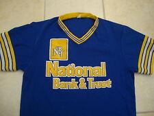 Vintage National Bank and Trust polyester v neck baseball punk rockJersey M L