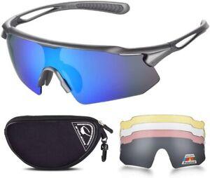 SNOWLEDGE Cycling Glasses, 5 Interchangeable Lenses, TR90 frame  UV400  GB502