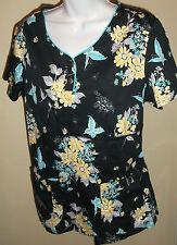 NWOT genuine DICKIES black floral short sleeve cotton blouse/ top/uniform,size M