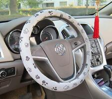 """Soft Comfy Flush Footprint Cartoon Car Steering Wheels Cover 38CM 15"""" Grey"""
