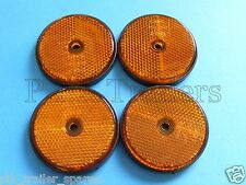 FREE P+P* 4 x AMBER Screw on 60mm Round Reflectors - Trailers & Horse Box